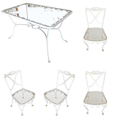Woodard Wrought Iron Scrolling Pattern Patio Outdoor Set with Metal Skirt by HarveysonBeverly