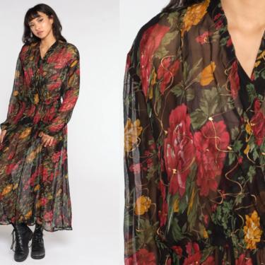Sheer Floral Dress Black Maxi Dress Bohemian 80s Long Sleeve Dress Wrap V Neck Secretary Vintage Boho High Waisted 1980s Vtg 2xl 18W 2x xxl by ShopExile