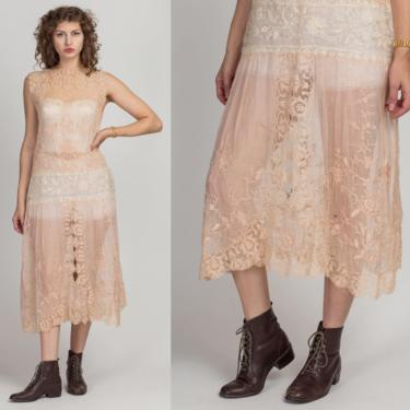 Antique 1910s Pink Lace Drop Waist Dress - XS to Large | Edwardian 10s 20s Flapper Sheer Net Sleeveless Floral Lace Sleeveless Midi Dress by FlyingAppleVintage