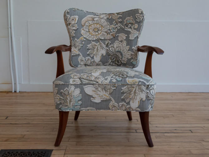 Ernst Schwadron Style Deco Lounge Chair w Floral Fabric