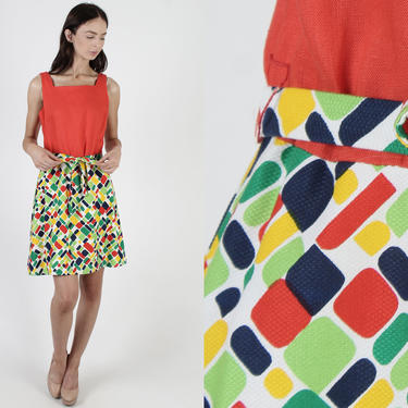 Bright Mosaic Tile Dress / Colorful Geometric Rainbow Print / Red Disco Day Cocktail Party / Abstract Casual Fun Sun Belted Mini Dress by americanarchive