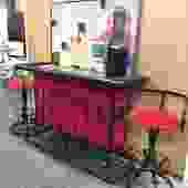Retro Iron & Red Bar + 2 Stools (Item # 133014)