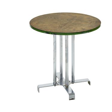 Vintage wood and tubular steel side table designed by Alfons Bach for Lloyd Loom Products by PeachModern