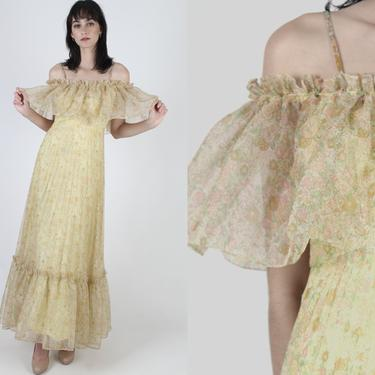 Vintage 70s Sunflower Chiffon Dress / Frilly Avant Garde Bridal Party Dress / Light Yellow Fairytale Princess / Wildflower Off Shoulder Maxi by americanarchive