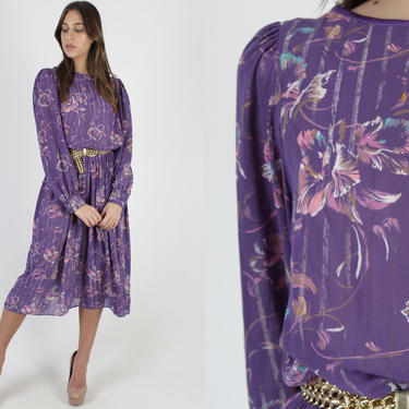 Purple Metallic 80s Party Dress / Gold Thread Sheer Cocktail Dress / Vintage 1980s Bright Floral Wear To Work Violet Midi Mini Dress by americanarchive