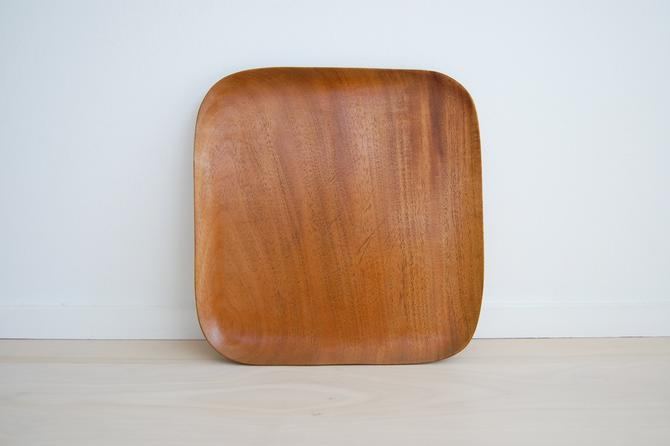 Vintage Square Solid Wooden Tray / Plate by MidCentury55