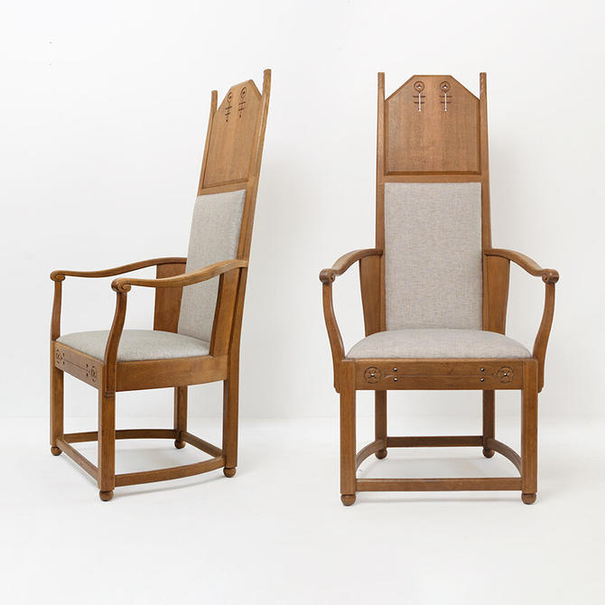 Lars Israel Wahlman architect designed pair of high back oak, Swedish Arts and Crafts period chairs