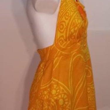 Vintage 60s Cotton Hawiian TIKI Mini Dress Halter MOD Orange Yellow Made in Hawaii by FlashbackATX