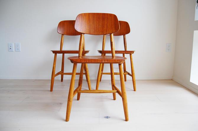 3 Mid Century Modern Stolar Nesto Plywood Teak Chairs Made in Sweden by MidCentury55