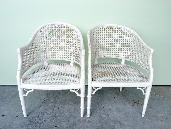 Pair of Faux Bamboo and Cane Barrel Chairs