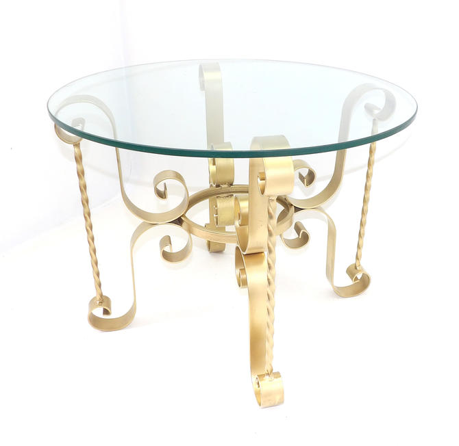 1960's Mid Century Modern Brutalist Wrought Iron Round Glass Side Table End Table Nightstand Gold Twisted Metal Base Office Business Display by MakingMidCenturyMod