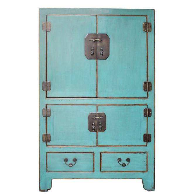 Chinese Vintage Hardware Distressed Pastel Blue Storage Cabinet cs4903S