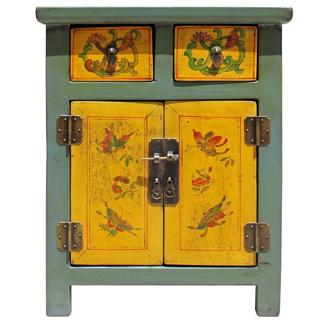Chinese Oriental Distressed Yellow Gray Butterflies End Table Nightstand cs5135S