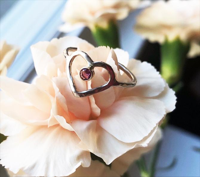 14k White and Yellow Gold Open Heart Ring with Pink Tourmaline Handmade by RachelPfefferDesigns