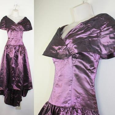 Vintage 1980s Iridescent Purple Prom Dress, Size Small by GuavaNectarVintage