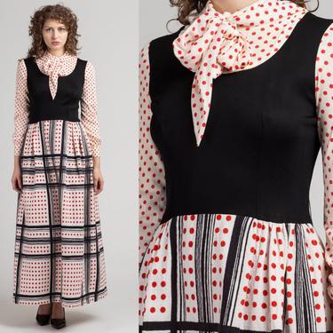 1960s Polka Dot Ascot Tie Maxi Dress - Medium   Vintage Quilted Skirt Long Sleeve Hostess Dress by FlyingAppleVintage