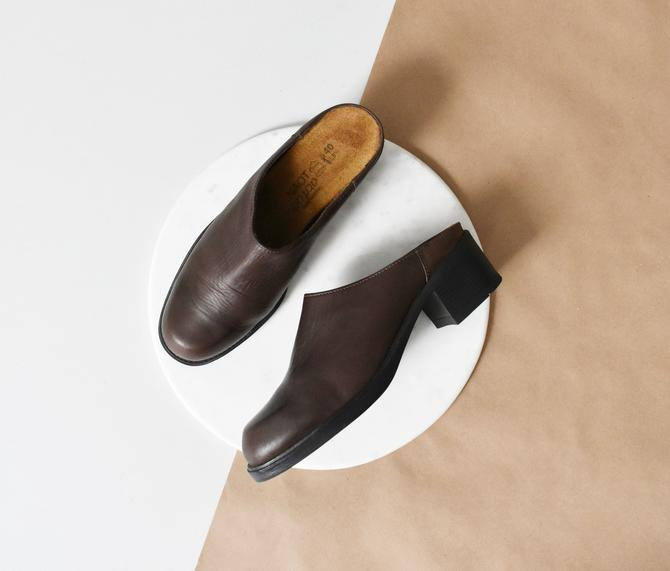 vintage mules, dark brown leather clogs, EU size 40 by ImprovGoods