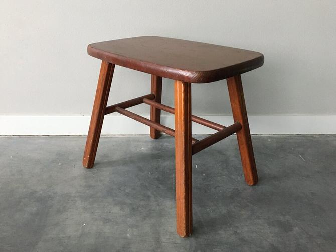 vintage mid century wooden stool / bench table.