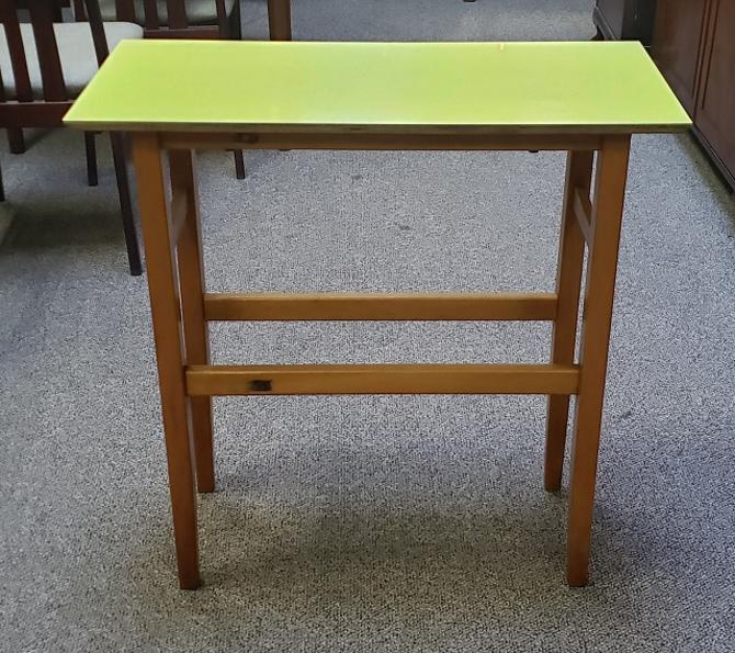 Item #S116 Vintage Maple Side Table w/ Yellow Laminate Top c.1950s
