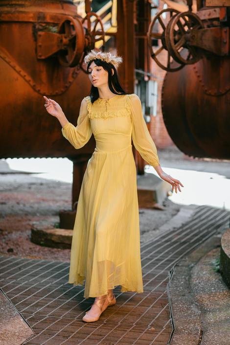 1940s yellow silk chiffon smocked dress OOAK antique dress by DevoreVintage