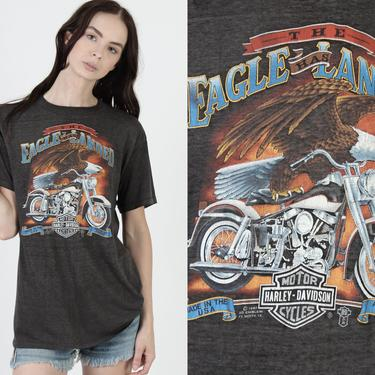 1987 3D Emblem T shirt / Vintage 80s Harley Davidson Tee / The Eagle Has Landed Graphic / 2 Double Sided Florida Leather Dealer Tee by americanarchive