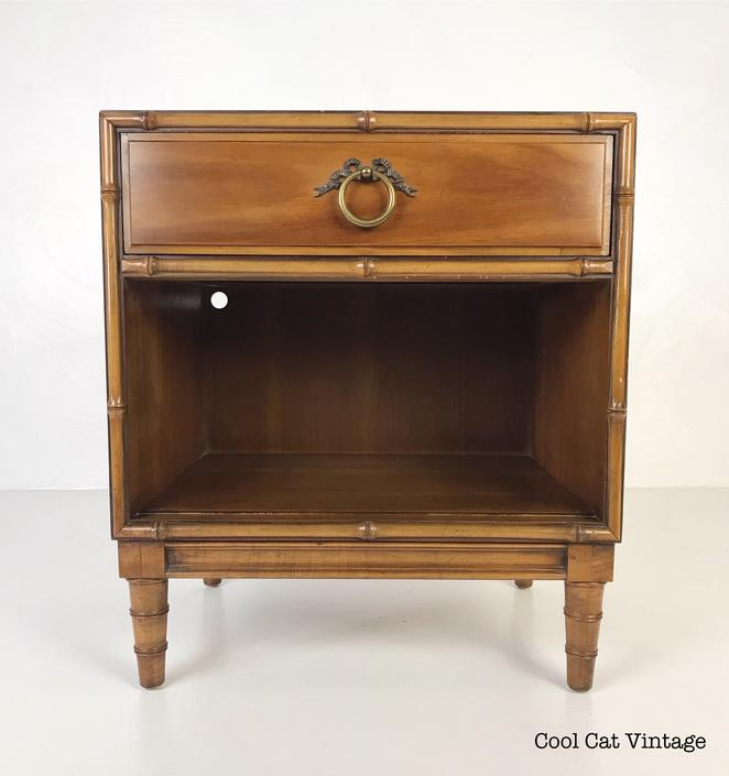 Walnut Bamboo Nightstand by Drexel, Circa 1960s - *Please see notes on shipping before you purchase. by CoolCatVintagePA