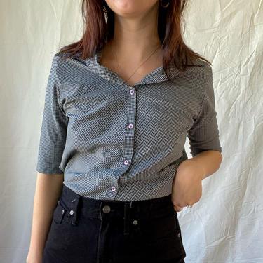 Vintage Blouse/ Vintage Shirt/ Button Up Shirt/ Short Sleeve Shirt/ Gingham Shirt/ Small/ Medium by highwvintage