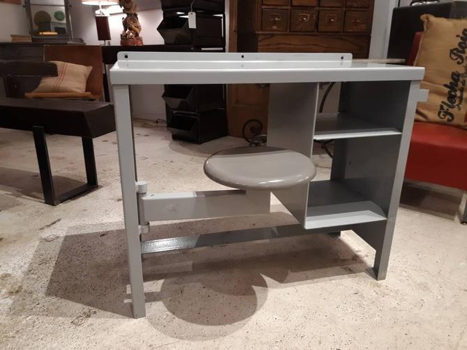 Vintage industrial steel prison desk with swing out seat by StateStreetSalvage