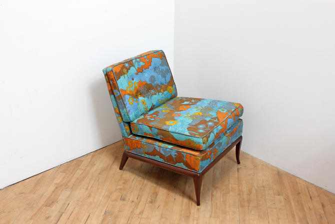 Mid Century Floral Slipper Chair Rosewood Psychedelic Print Hollywood Regency by 330Modern