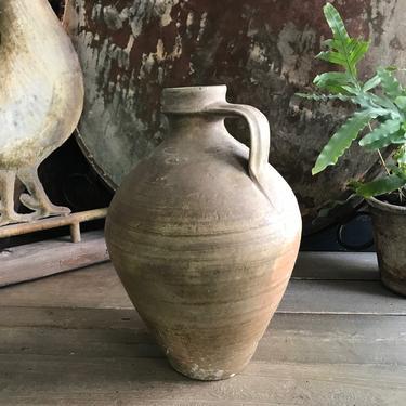 19th C Pottery Jug, Rustic Pitcher, Olive Jug, Terracotta, Rustic European Farmhouse, Farm Table, Art Pottery by JansVintageStuff