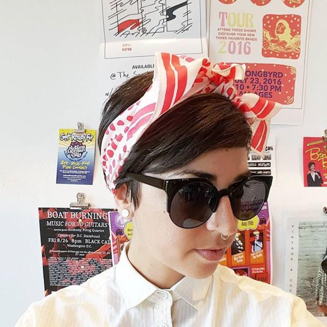 Jackie channeling #yayoikusama with more #polkadot fun! Come by for 20% off and a super sale rack! #meepsdc #vintagescarf #vintagesilk #sunnies #adamsmorgan #summersale