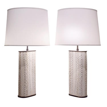 Karl Springer Exceptional Pair of Table Lamps in Bronze Covered in Boa 1970s