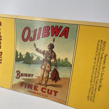 Antique Vintage Indian Native American Graphic Advertising Design Tin Can Paper Label Ojibwa Tobacco Rare Graphic Scotten-Dillon Detroit by BrainWashington