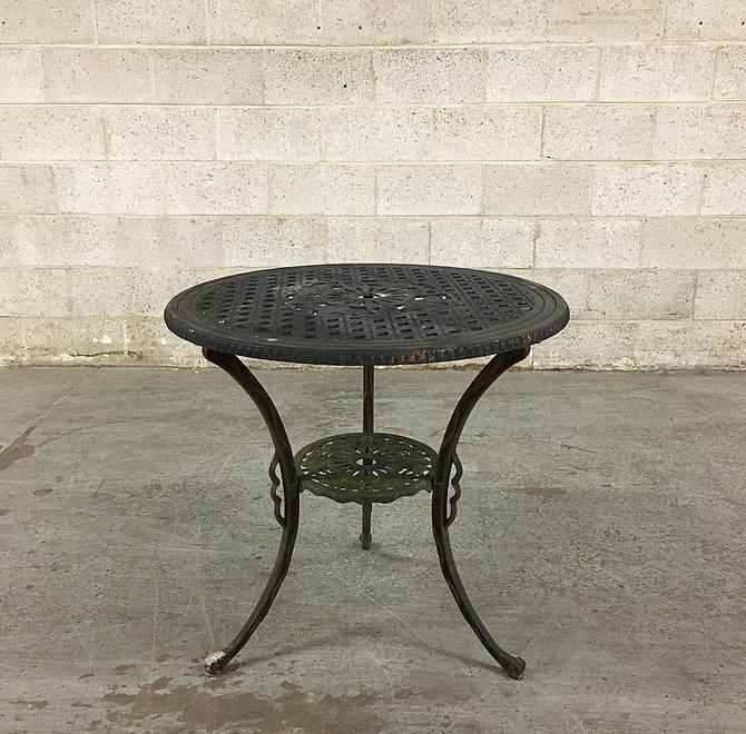 LOCAL PICKUP ONLY Vintage Patio Table Retro 1980s Round Black Cast Iron Bistro Table with Diamond + Flower Design for Patio + Outdoor Dining by RetrospectVintage215