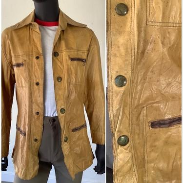 Vtg 50s Buckskin Leather Snap Button Chore Jacket / Distressed Tan Leather Snap Front Chore Coat / Size 40 Chest / Medium by AmericanDrifter