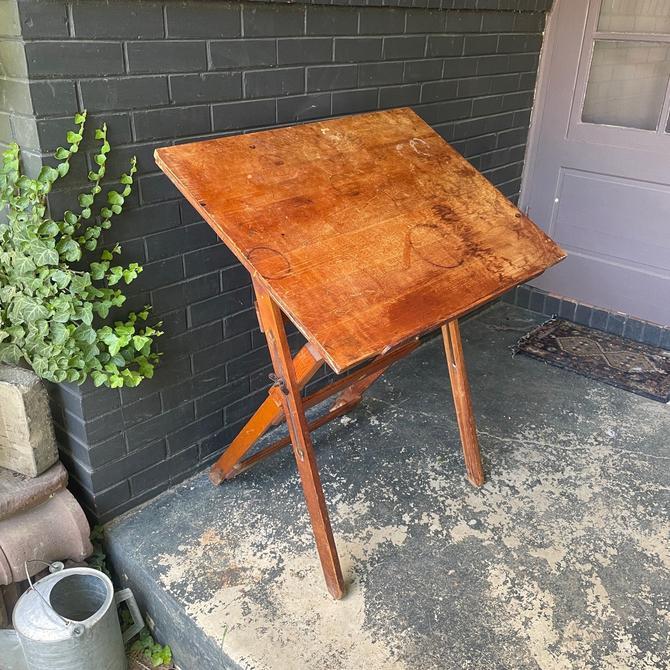 1940s Drafting Table Desk Petite Folding Vintage Mid-Century Industrial Chic Small Farmhouse by BrainWashington