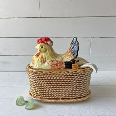 Vintage Rossini 1950s Ceramic Rooster Chicken Basket With Spoon // Chicken Tureen, Gravy Or Soup Bowl // Hen On Nest Collector by CuriouslyCuratedShop
