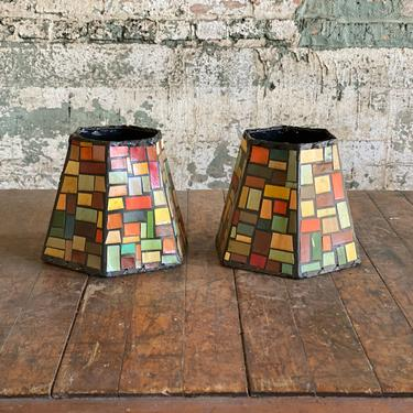 PAIR of Vintage Geometric Funky Light Shades Applied Shapes by NorthGroveAntiques