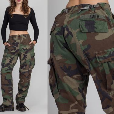"""80s High Waist Unisex Camo Cargo Pants - 29""""-34"""" 
