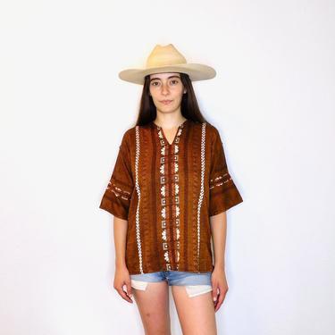 Sunrise Blouse // vintage cotton boho hippie Mexican embroidered dress hippy tunic mini dress 70s // S/M by FenixVintage
