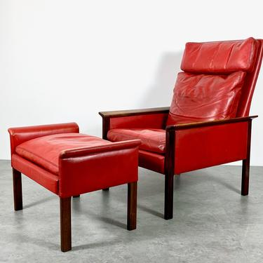 Vintage Hans Olsen Rosewood Leather Lounge Chair and Ottoman 1960s by 20cModern