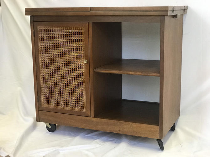 Free Shipping Within US - Vintage Mid Century Modern Cane Bar Cabinet Storage with Fold Out Table Top With Casters by BigWhaleConsignment