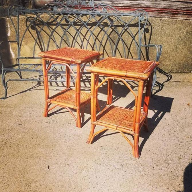 Pair of bamboo side tables