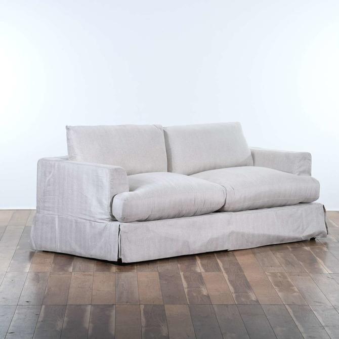 Contemporary Linen Sofa W Skirt