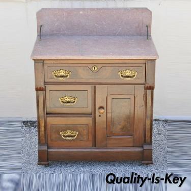 Antique Eastlake Victorian Walnut Washstand Commode with Marble Top Backsplash