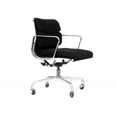 Mid Century Vintage Aluminum Group Soft Pad Desk Chair — Charles Eames for Herman Miller — Black Wool Textile by atomicthreshold