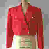 1980s 90s Gucci Gold Button Red Silk Cotton Faille Cropped Jacket by hemlockvintage