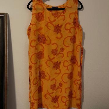 3) vintage bright orange sheer floral tropical Hawaiian mini dress 1990s 90s y2k 00s 2000s by GRACEandCATS
