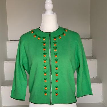 "1960s Kelly Green Angora Sweater Fall Vintage 40 1717"" sj Bust Peaches by AmalgamatedShop"