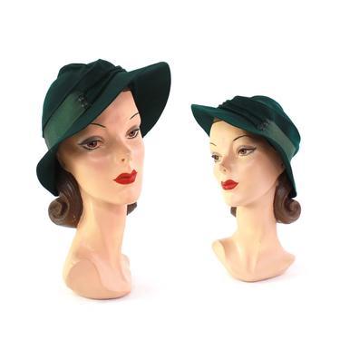 1930s Womens Hunter Green Fedora - 1930s Womens Green Fedora - 1930s Womens Fedora - Vintage Green Fedora - 1930s Womens Hat - 30 Green Hat by VeraciousVintageCo
